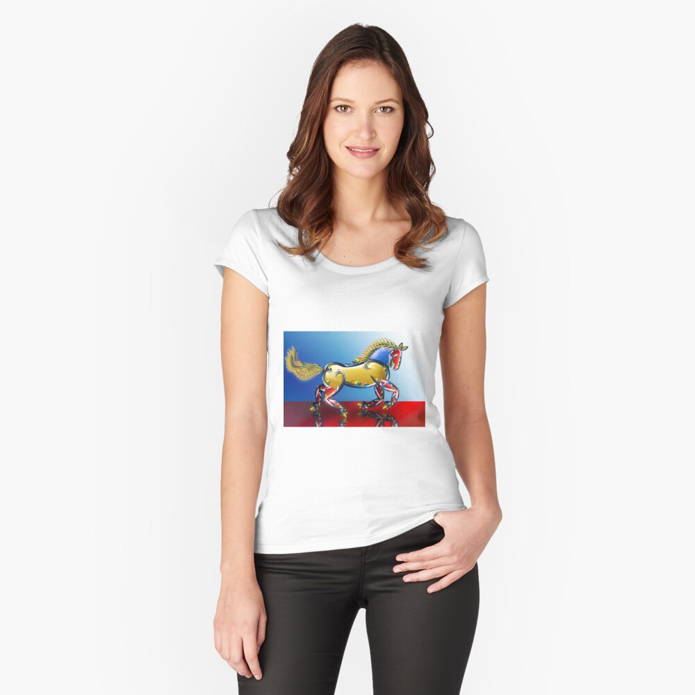 Xmas Light Horse Women's Fitted Scoop T-Shirt Front