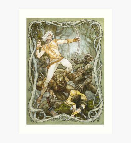Elves & Orcs, the Battle Under the Trees Art Print