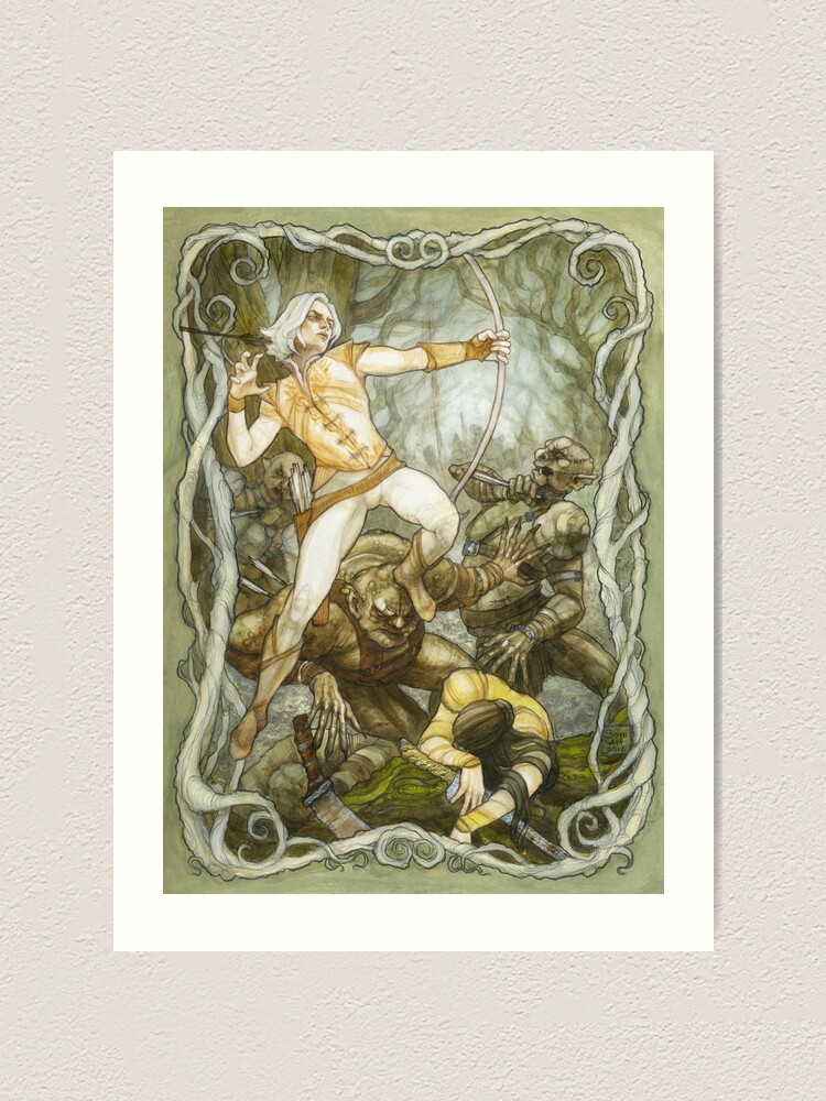 Alternate view of Elves & Orcs, the Battle Under the Trees Art Print
