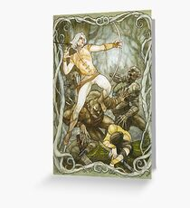 Elves & Orcs, the Battle Under the Trees Greeting Card