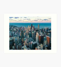 Chicago Illinois aerial view cityscape at morning Art Print