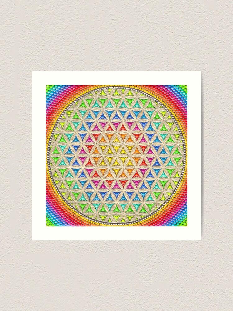 Alternate view of Rainbow flower of life painting Art Print