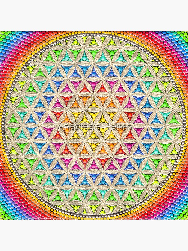 Rainbow flower of life painting by anastasiahelten