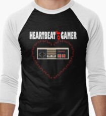 Heartbeat of Gamer Funny Gaming Video Game Gift T-Shirt Men's Baseball ¾ T-Shirt