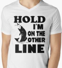Funny Please Hold I'm On The Other Line Fishing T-Shirt Men's V-Neck T-Shirt