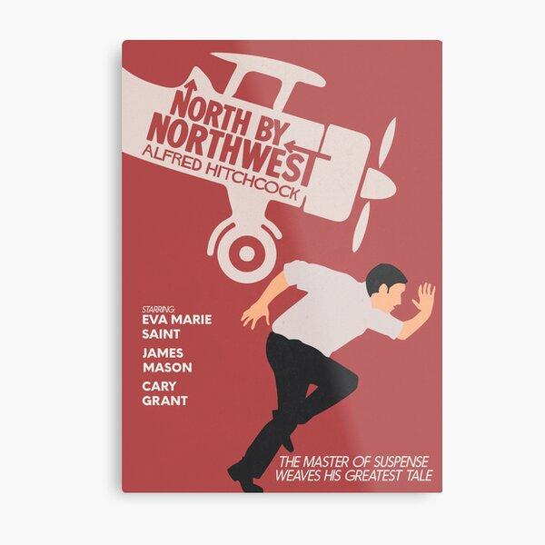 Norte a noroeste, película de Alfred Hitchcock, cartel de película minimalista, cine clásico, cartel alternativo Lámina metálica