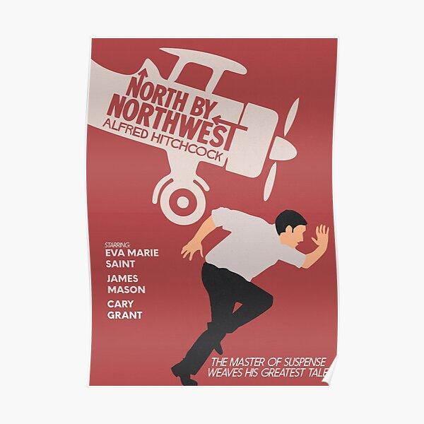 Norte a noroeste, película de Alfred Hitchcock, cartel de película minimalista, cine clásico, cartel alternativo Póster