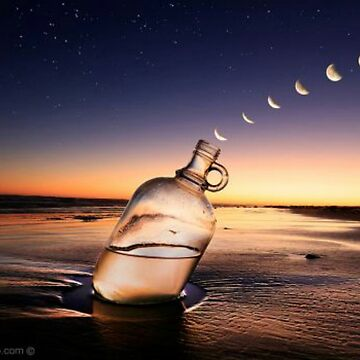 Moon stages coming out of a bottle by Rajaljain