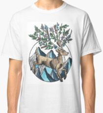 Mountain Stag with Floral Antlers Illustration Classic T-Shirt