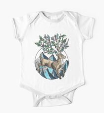 Mountain Stag with Floral Antlers Illustration One Piece - Short Sleeve