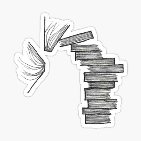 falling stack of books Sticker