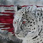 hunter - monochrome leopard with bloody background von Schiraki