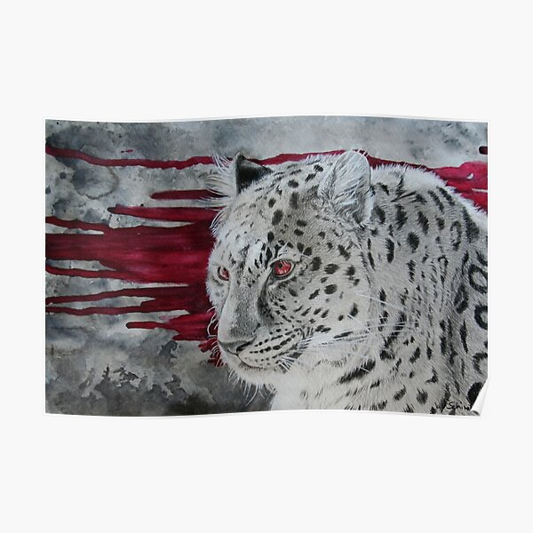 hunter - monochrome leopard with bloody background Poster
