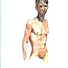 torso boy in watercolour by Arzeian
