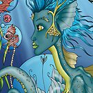 Teal Mermaid - Unique Octopus Mermaid with Fish in Bubbles by shelahdowart