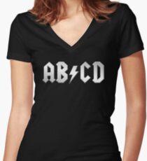 AB/CD (white on black) Women's Fitted V-Neck T-Shirt