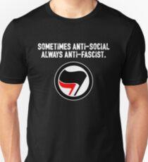 Sometimes Anti-Social, Always Anti-Fascist Unisex T-Shirt