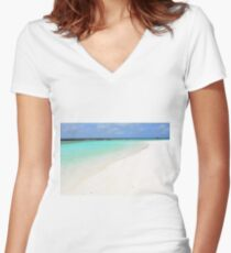 Beautiful natural landscape from Maldives Women's Fitted V-Neck T-Shirt