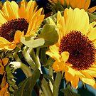Sunflower Bunch on Blue by Lynda Anne Williams
