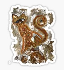 CRAZY STEAMPUNK CAT Sticker