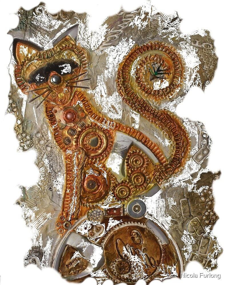 CRAZY STEAMPUNK CAT by Nicola Furlong