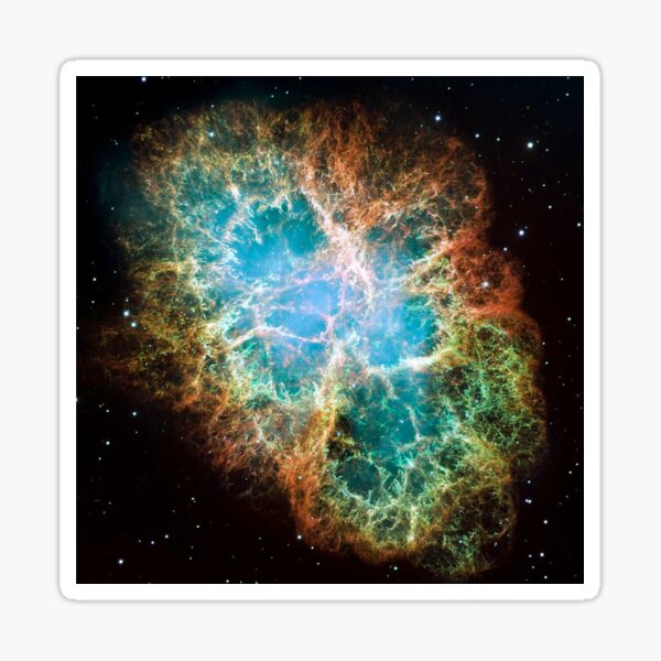 Crab Nebula, #Crab, #Nebula, #CrabNebula,  #fog, #nebulae, #interstellar, #cloud, #dust, #hydrogen, #helium, #ionized, #gases,  #astronomical, #object, #MilkyWay, #Andromeda,  #galaxies, #Hubble Sticker