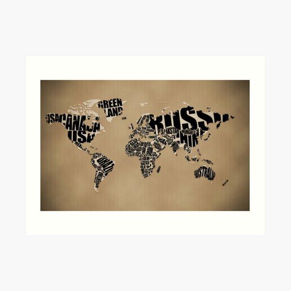 Typographic World Map Art Print