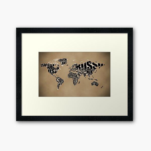 Typographic World Map Framed Art Print