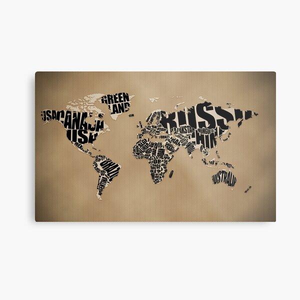 Typographic World Map Metal Print