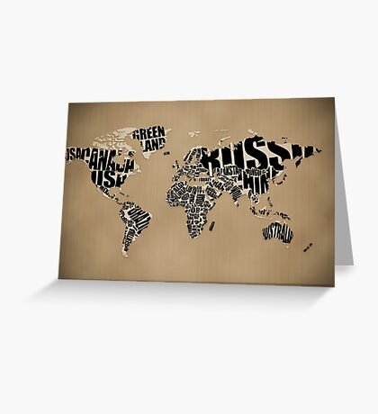 Typographic World Map Greeting Card