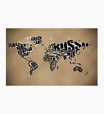 Typographic World Map Photographic Print