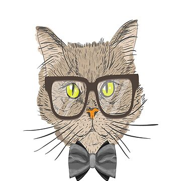 Cat Father with bow tie and glasses by bounab2018