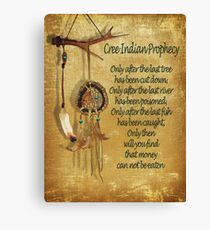 """Native American Indian """"Cree Prophecy"""" Canvas Print"""
