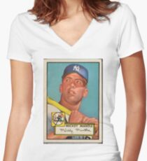 Mickey Mantle Women's Fitted V-Neck T-Shirt