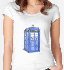 Watercolor Tardis Women's Fitted Scoop T-Shirt