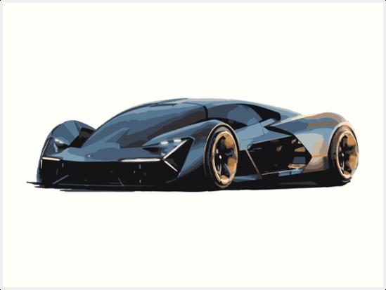 Lamborghini Terzo Millennio Art Prints By Chunknozza Redbubble
