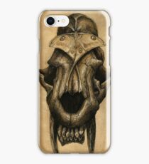 Ancient Smiles - Sabre Toothed Cat Skull with Comet Moth iPhone Case/Skin