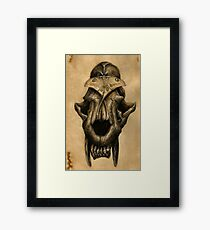 Ancient Smiles - Sabre Toothed Cat Skull with Comet Moth Framed Print