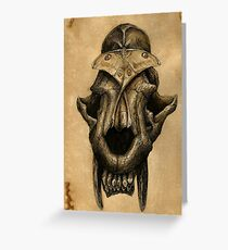 Ancient Smiles - Sabre Toothed Cat Skull with Comet Moth Greeting Card