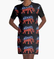 Glitzer republikanischer Elefant T-Shirt Kleid