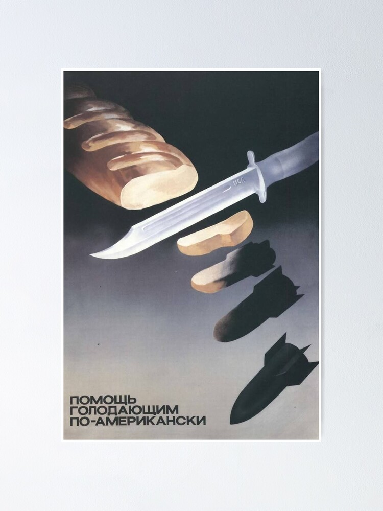 """Alternate view of """"Helping the starving, American-style"""", USSR Propaganda, c. 1970s Poster"""