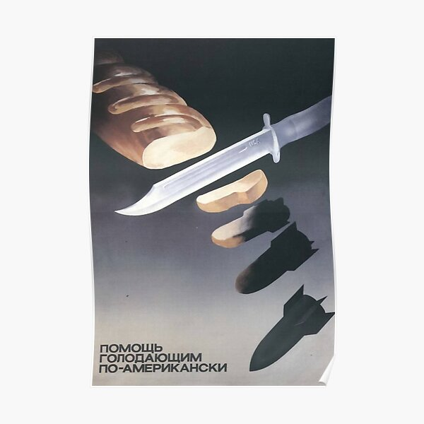 """""""Helping the starving, American-style"""", USSR Propaganda, c. 1970s Poster"""