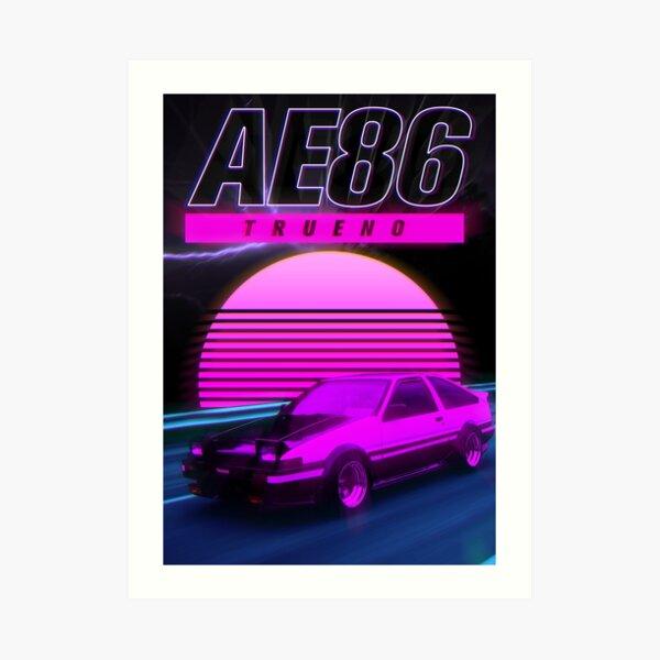 AE86 RETRO SYNTHWAVE POSTER Art Print