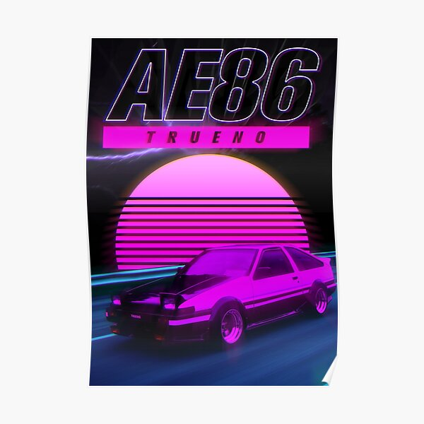 AE86 RETRO AFFICHE SYNTHWAVE Poster