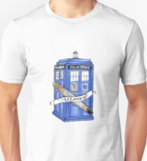 10th Doctor's Tardis, Sonic, and Saying Unisex T-Shirt