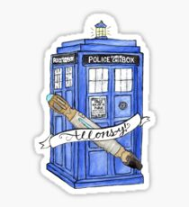 10th Doctor's Tardis, Sonic, and Saying Sticker