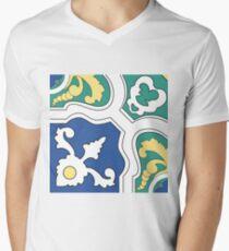 Portuguese tiles pattern. Vintage background. Vector texture Men's V-Neck T-Shirt