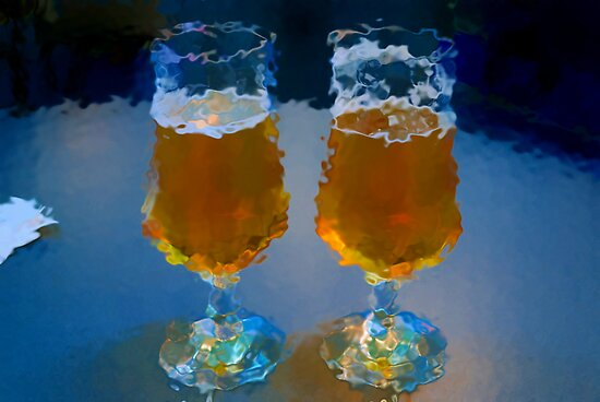 two glasses of beer on an office table by Sergieiev