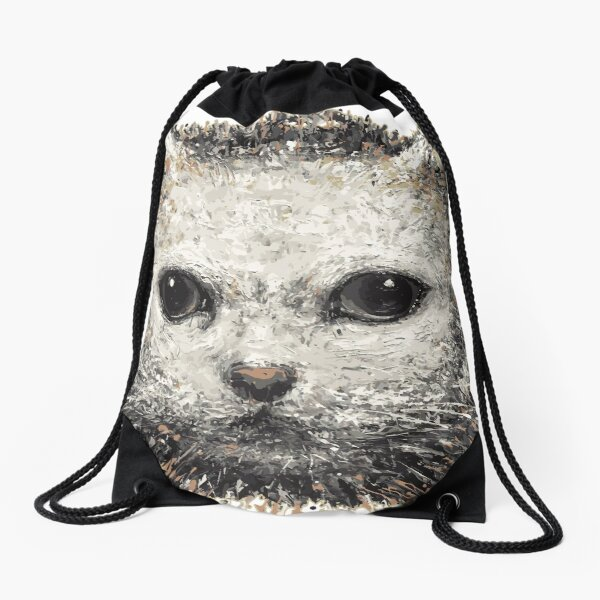 white cat 1 Drawstring Bag