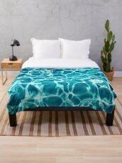 Turquoise Water -  Aqua Blue -  Ripples  Throw Blanket